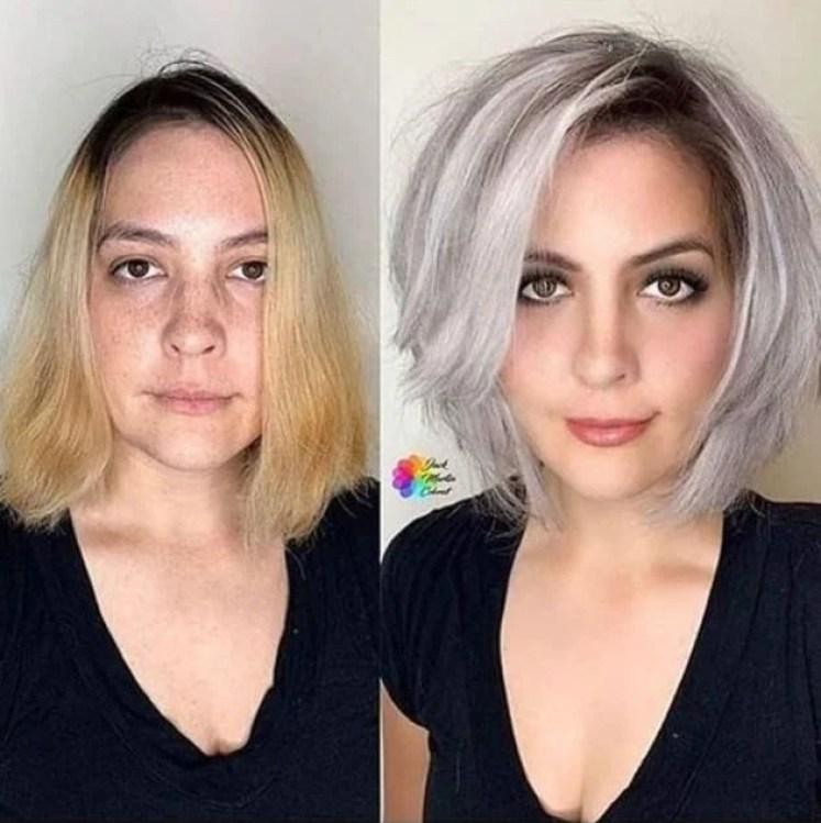 Mulher com antes e depois dos cabelos curtos