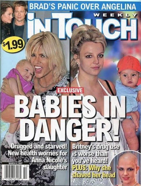 Capas de revista sobre Britney e seus filhos