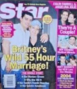Capa de revista falando das 55 horas do casamento de Britney