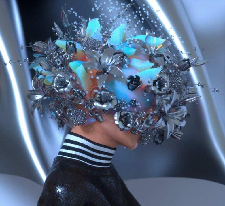 Foto de mulher com flores azuis em cima da cabeça