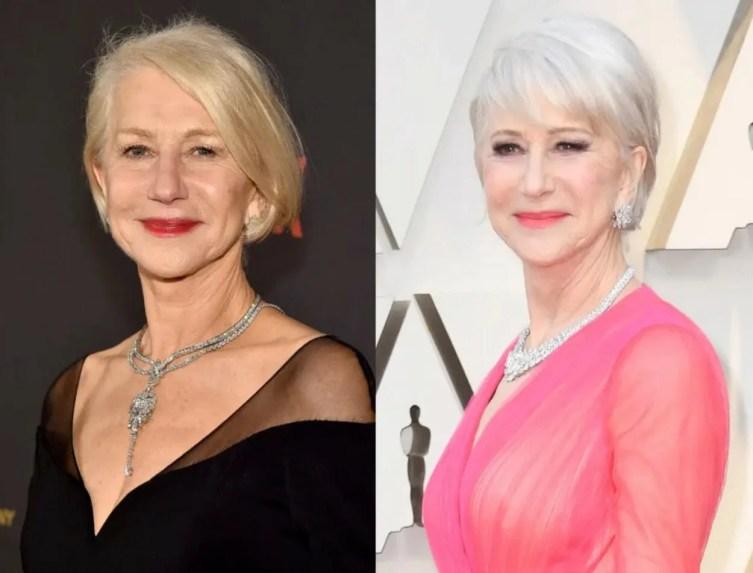 Foto antes e depois das famosas adotar os cabelos brancos