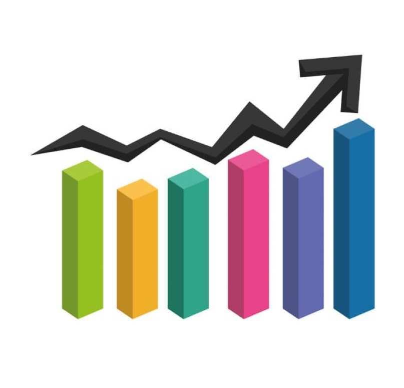 Gráfico colorido com dados e seta para cima - O que são tendências
