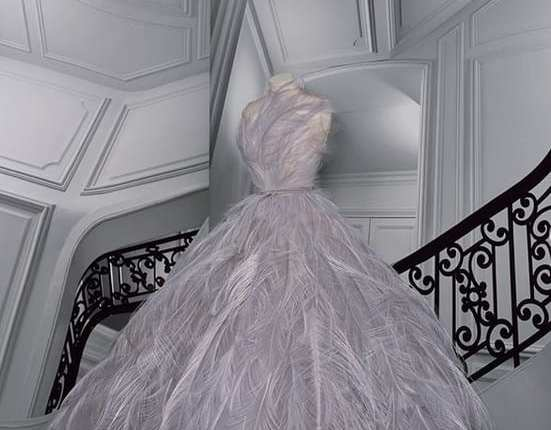 Vestido luxuoso acinturado dior trabalhado com plumas