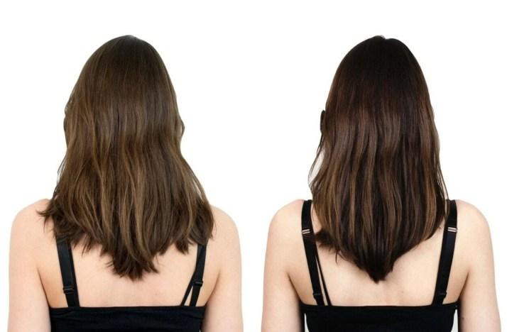 Imagem de antes e depois do Shampoo tonalizante