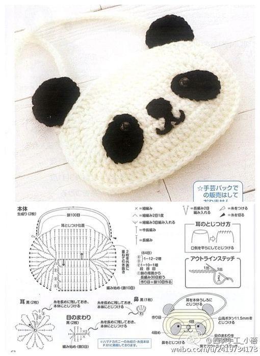 agora receita de máscara infantil de urso panda