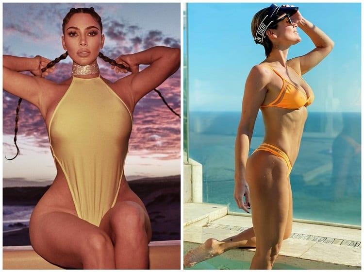 Kim Kardashian com maiô amarelo e Flavia Alessandra de biquíni laranja