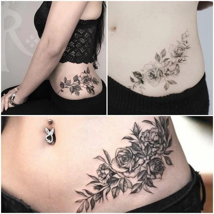 montagem com três fotos de tatuagem de cintura com rosas