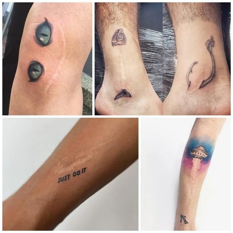 montagem com tatuagens em cicatriz divertidas