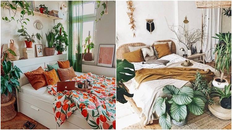 dois quartos com plantas na cabeceira ou nos pés da cama