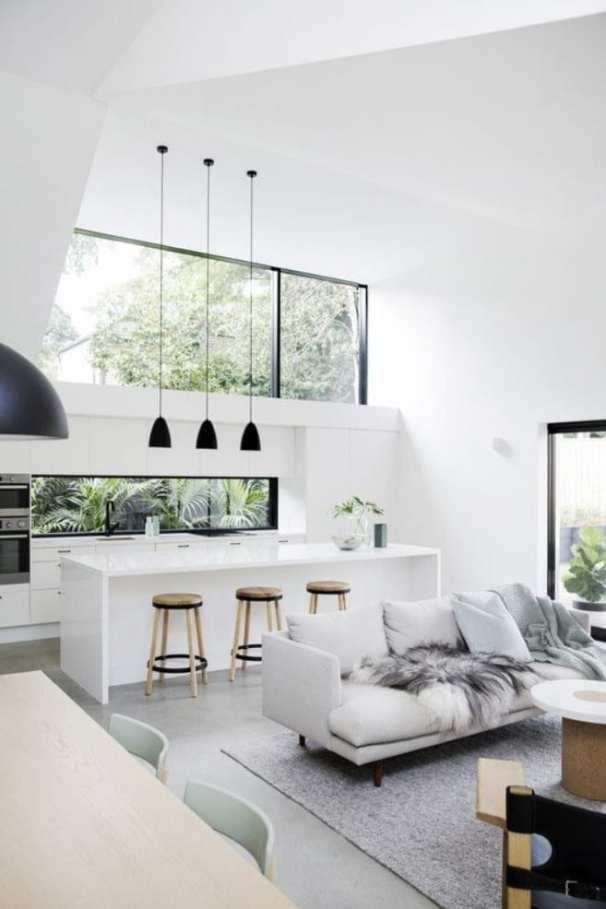 Decoração Minimalista preto e branco e iluminação natural