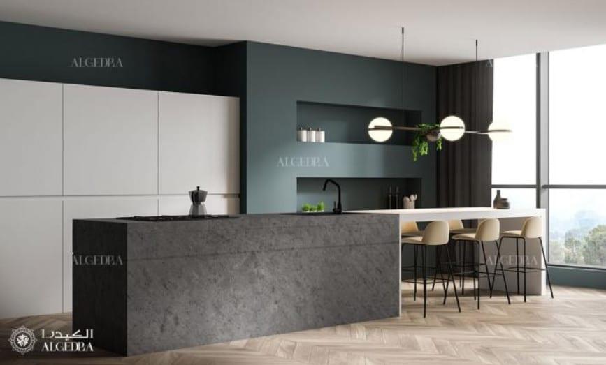 Cozinha minimalista com balcão e tons sobrios