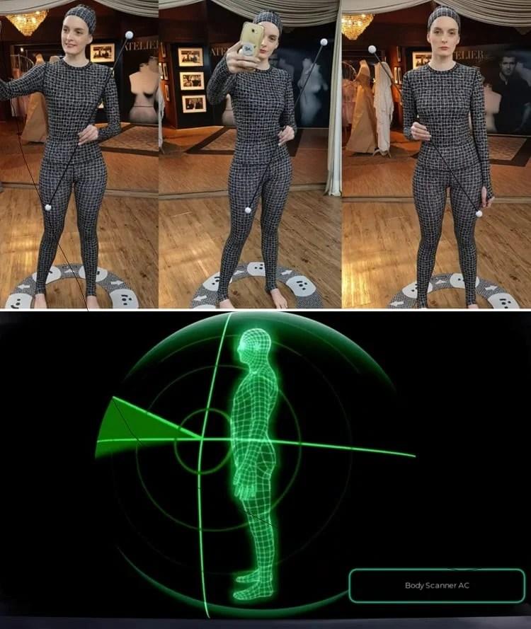 mulher com roupa especial para body scanner