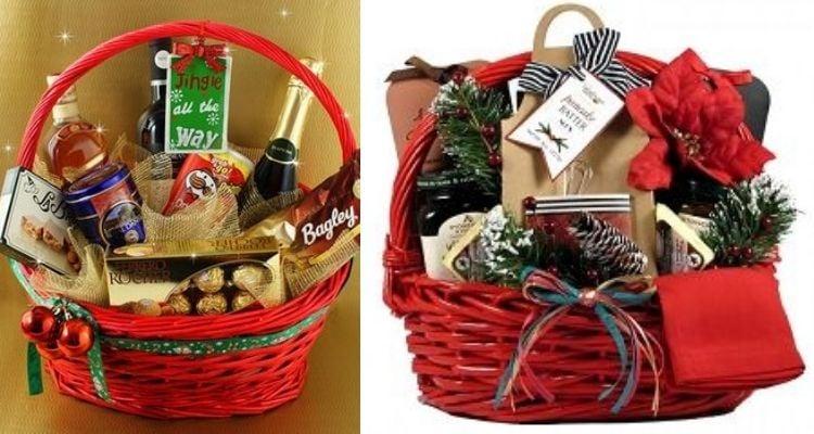 duas cestas vermelhas natalinas