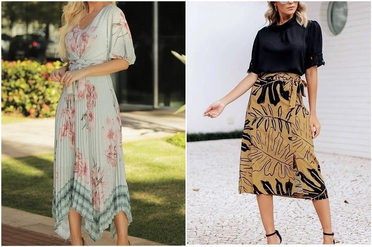 mulheres usando saia mídi e vestido longuete