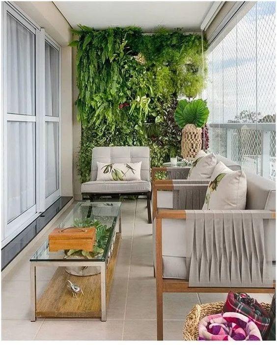 Jardim com várias plantas