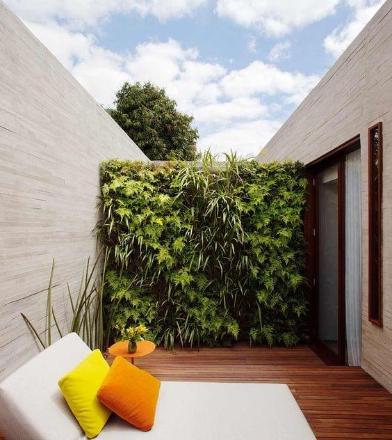 Parede externa com jardim vertical