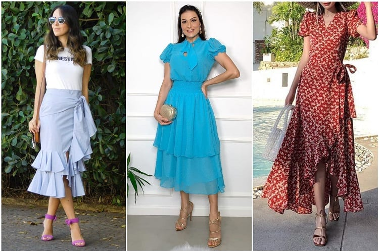 três opções de saias e vestidos com babados, tendência na moda evangélica 2021