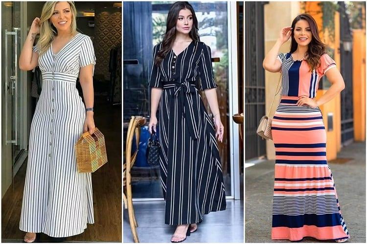 três mulheres usando vestidos longos listrados da moda evangélica 2021