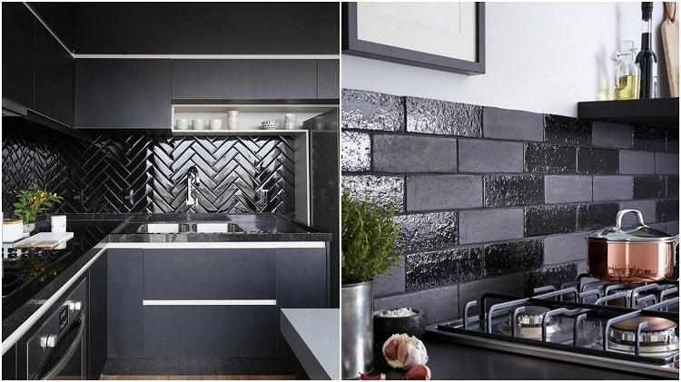 duas cozinhas com contraste de superfícies foscas e com brilho