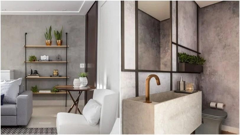 sala e banheiro com detalhes metálicos