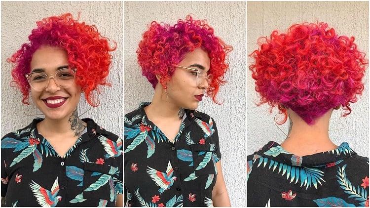 três ângulos de um corte de cabelo assimétrico