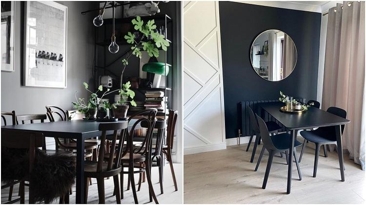 duas salas de jantar com cores escuras