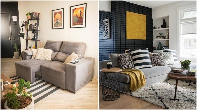 duas salas de estar com parede de destaque