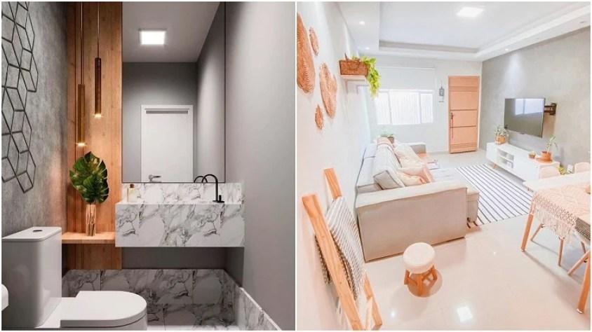banheiro e sala com cores neutras na decoração
