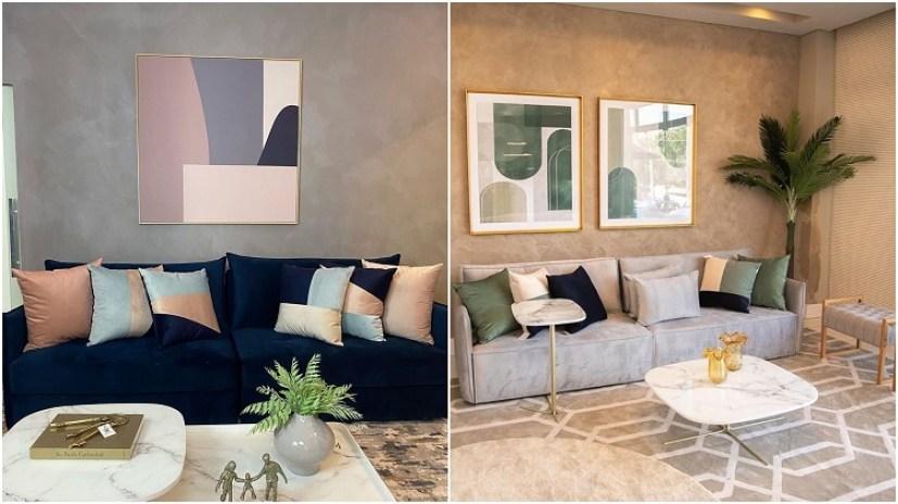 duas fotos de sala com quadro e almofadas em tons pastel