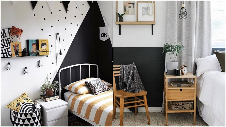 dois quartos com detalhes em preto na decoração
