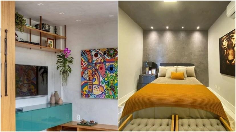 sala de estar e quarto decorados