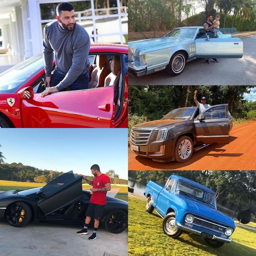 Montagem com todas fotos dos carros de Gusttavo Lima.