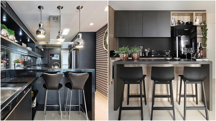 duas fotos de cozinha americana preta