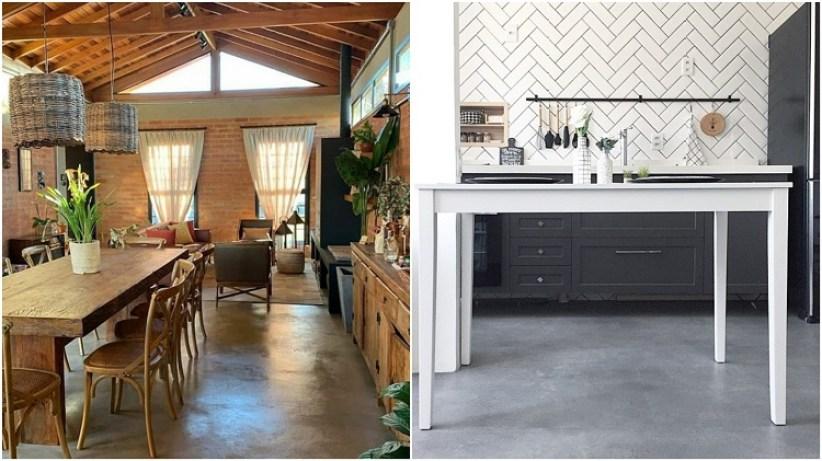 duas cozinhas com piso de cimento queimado