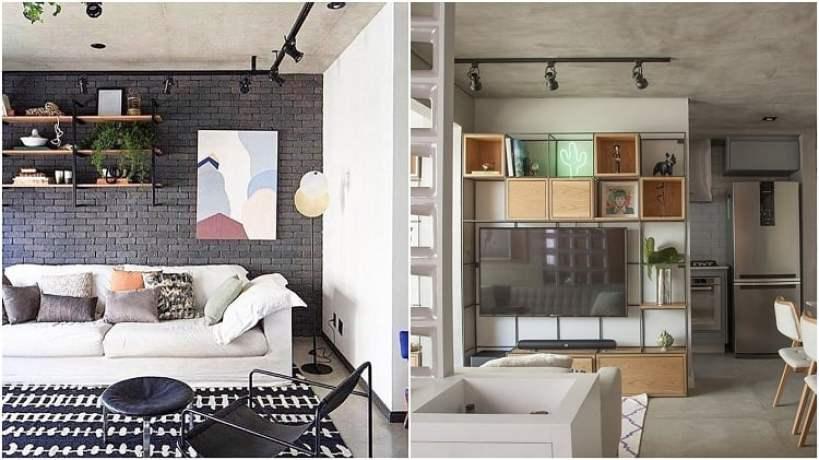 duas salas de estar com teto de cimento queimado