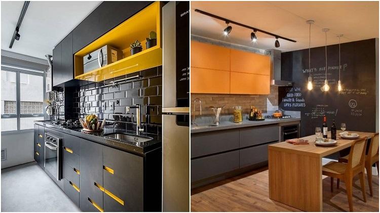 duas imagens de cozinha amarela