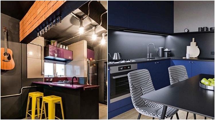 cozinha roxa e cozinha azul royal