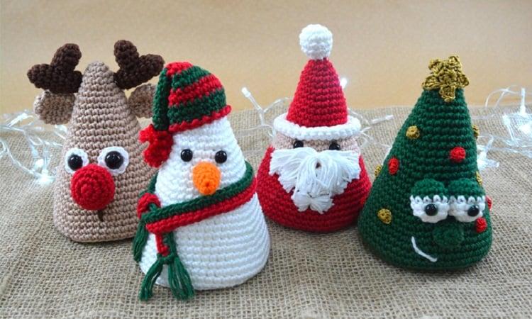 quatro trabalhos em amigurumi natalino
