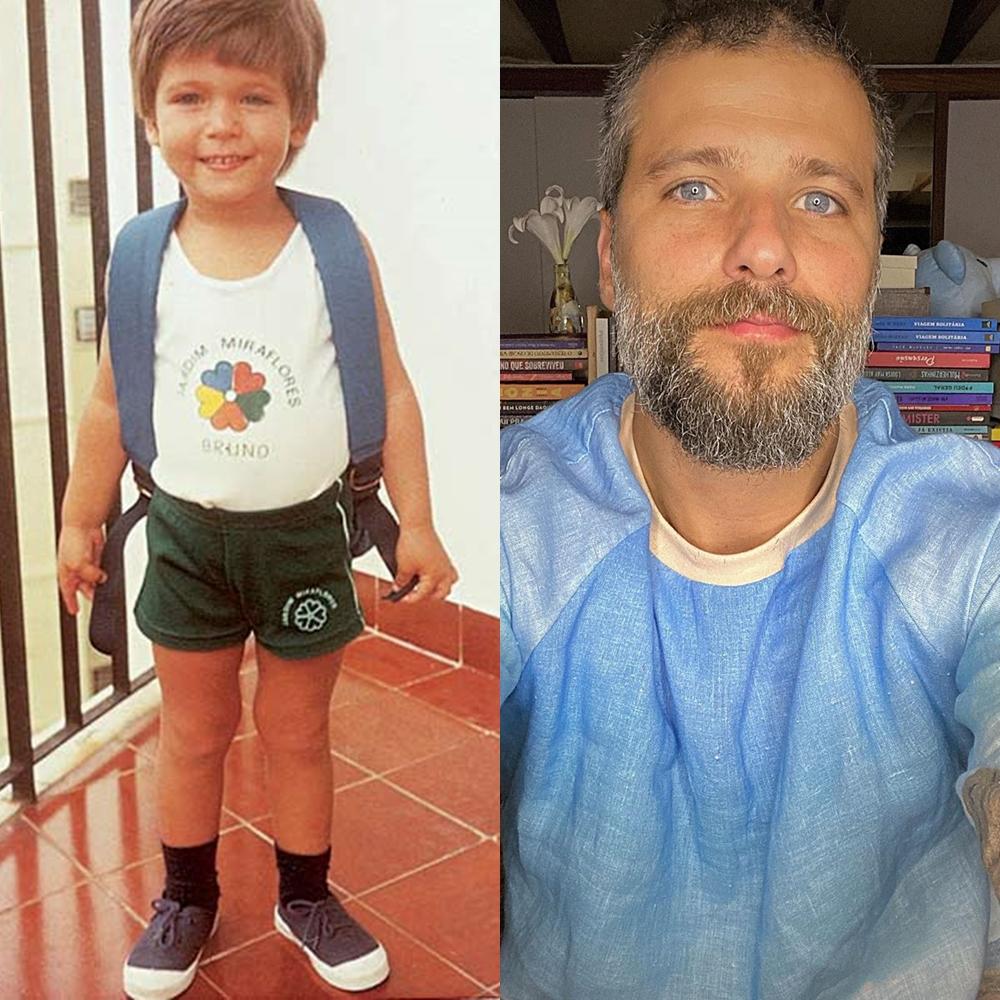 Foto de Bruno Gagliasso quando criança e atualmente