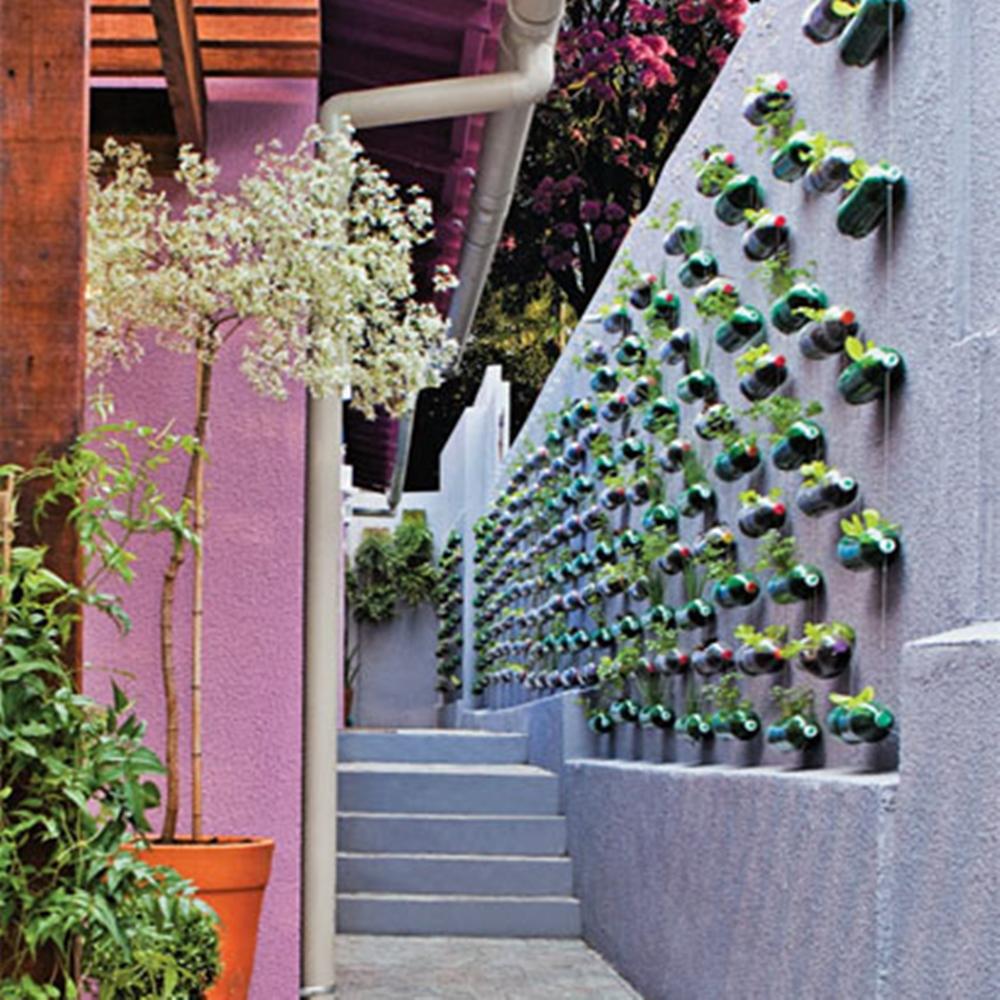Parede com plantas em garrafas PET, em ambiente reformado pelo Lar Doce Lar