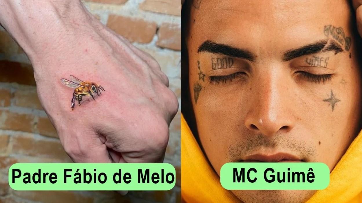 Tatuagens: Padre Fábio de Melo e MC Guimê.