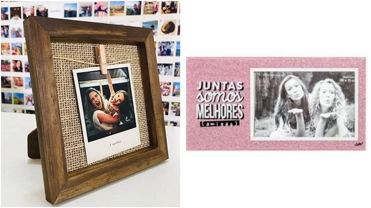 duas opções de porta-retratos com fotos de amigas