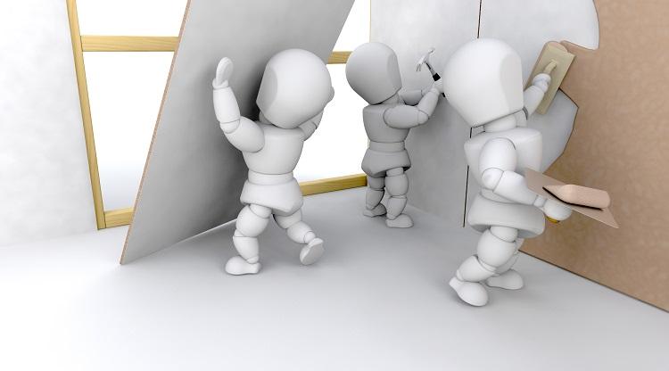 profissionais fazendo as etapas de instalação de drywall