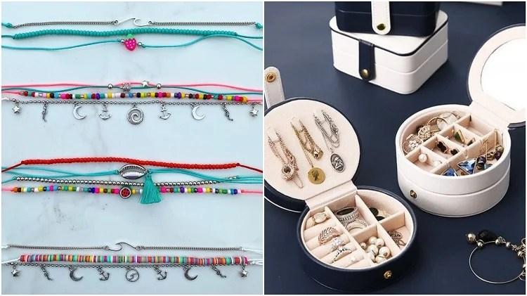 mix de pulseiras e porta-joias com bijuterias