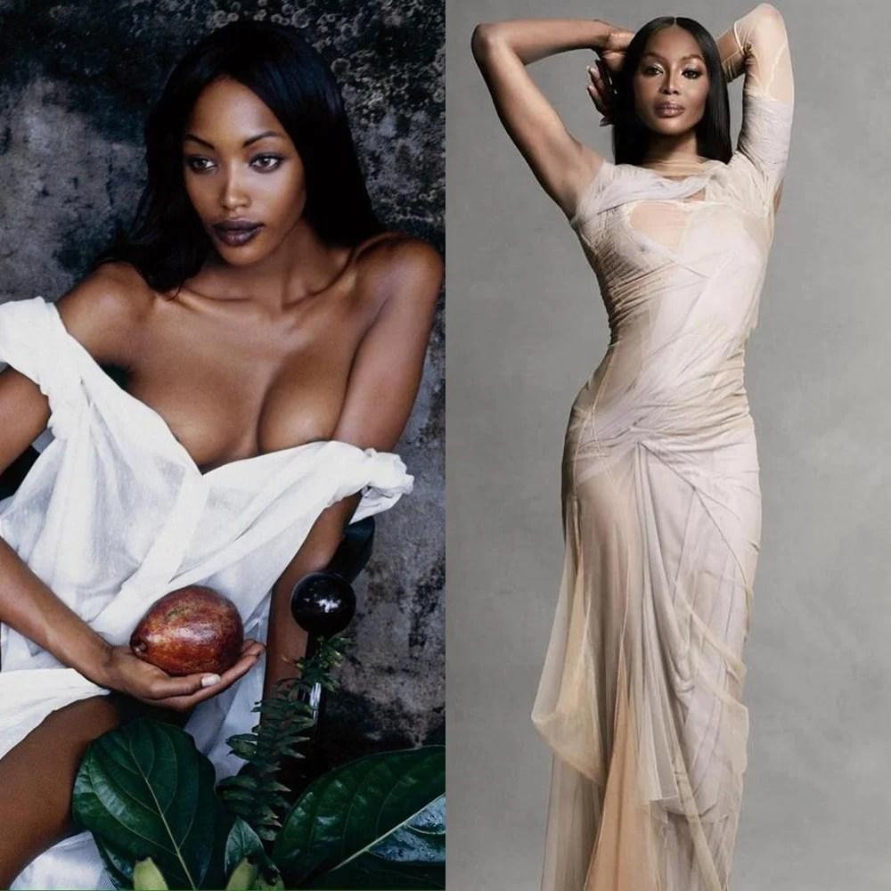 Naomi Campbell modelo dos anos 90, antes e atualmente.