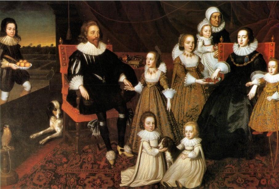 Quadro de Sir Thomas Lucy of Charlecote e sua família, incluindo meninos e meninas vestidos com a roupa infantil da época.
