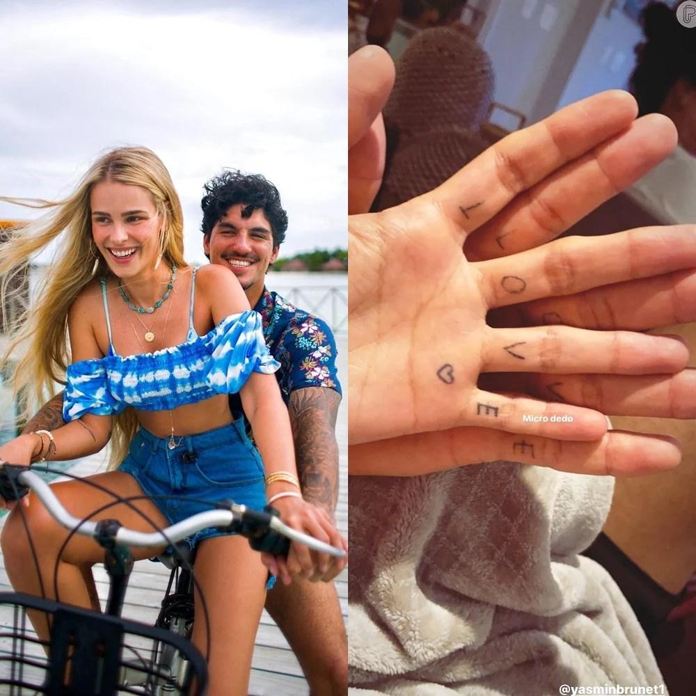 Imagens das tatuagens do casal Gabriel Medina e Yasmin Brunet.