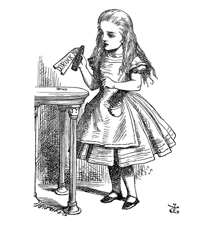Ilustração clássica de Sr. John Tenniel para o livro Alice no País das Maravilhas, de 1865.