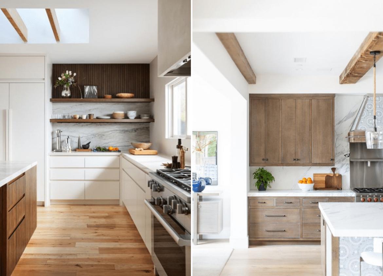 Cozinhas com madeira em dois tons