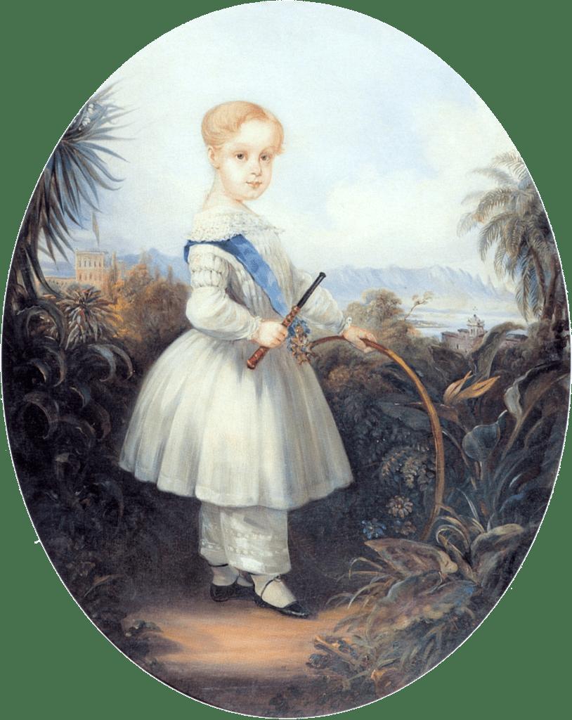 Pintura de Johann Moritz Rugendas de Afonso, Príncipe Imperial do Brasil, filho mais velho de D. Pedro II, com a roupa infantil da época.